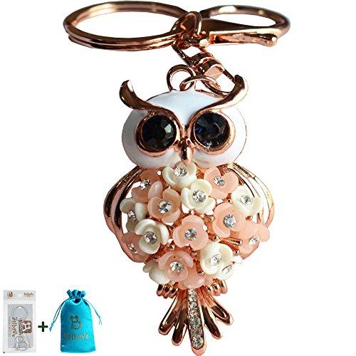 Bolbove Flower Owl Keychain Sparkling Keyring Blingbling Crystal Rhinestones Purse Pendant Handbag Charm (Pink)