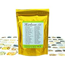 Heirloom Seed Bank with 55 Varieties of Vegetable seeds by Heirloom Futures. 100% NON GMO Open Pollinated Non-Hybrid Naturally Grown Premium 2017 USA Seed Stock for All Gardeners.