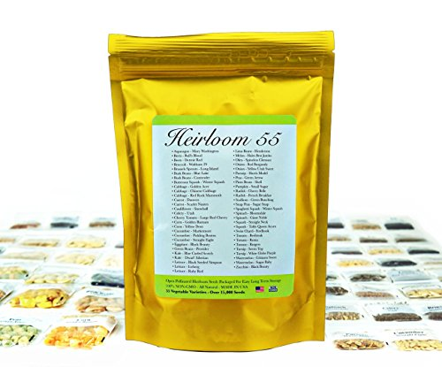 ith 55 Varieties of Vegetable seeds by Heirloom Futures. 100% NON GMO Open Pollinated Non-Hybrid Naturally Grown Premium USA Seed Stock for All Gardeners. ()