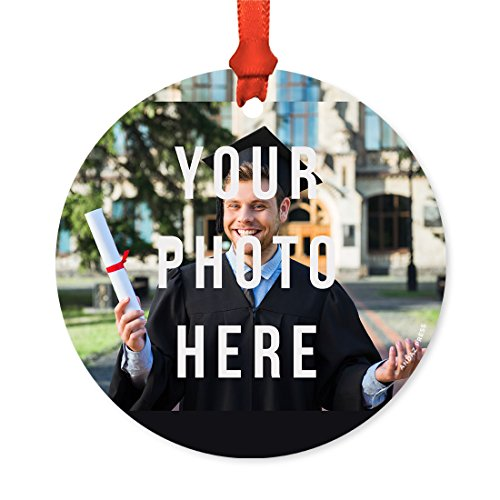 Andaz Press Fully Personalized Round Metal Christmas Ornament, Your Photo Here, 1-Pack, Includes Ribbon and Gift Bag, Custom (Hanukkah Holiday Photo)