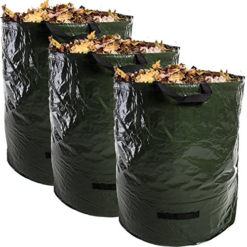 Home Ease (3 Pack, 72 Gallons Each) XL Heavy Duty Self Standing Gardening Lawn Cleanup, Yard Waste Bags, Reusable and Collapsible Leaf Composting