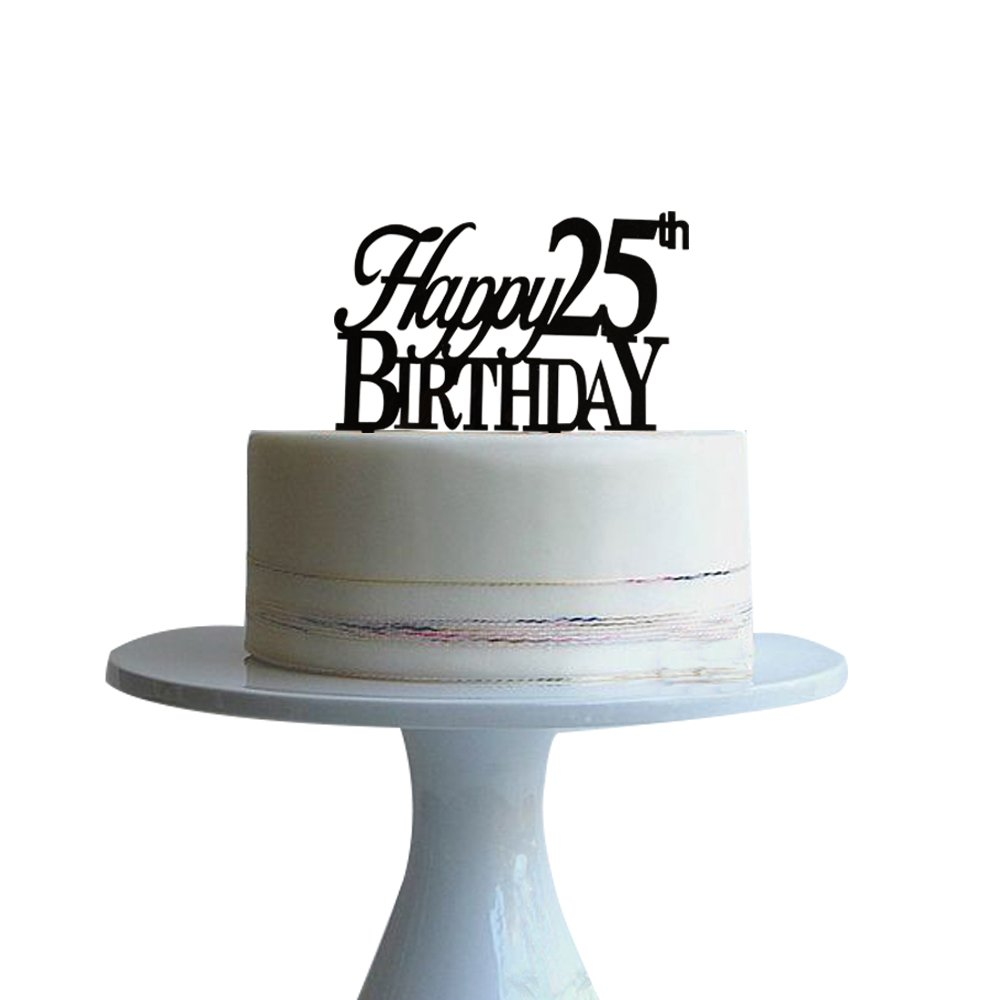 Happy 25th Birthday Cake Topper For Birtday Party Decor Black Acrylic Btsond