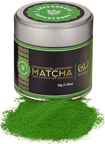 Double Organic Ceremonial Grade Matcha, Premium Green Tea Powder (Authentic Japanese 1st Harvest), 200 Years Experience by Greenhouse Superfoods, Bonus 17% (35g)