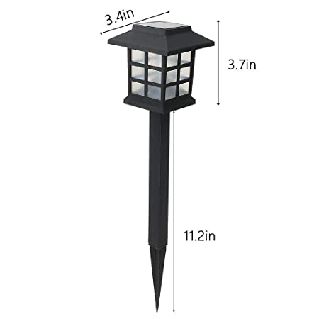Solar Pathway Lights Outdoor Decor Garden Warm White Led Yard Stakes (2)