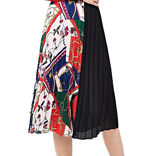 SheIn Women's Summer Color Block Floral Midi A-Line Pleated Skirt X-Small Black-Scarf