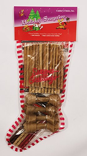Canines Choice Christmas Stocking Filled With Rawhides 3 In. -4 In., (Dog Filled Stocking)