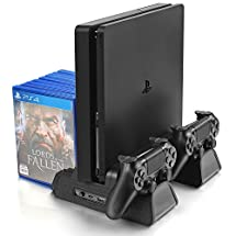 Vertical Stand for PS4/PS4 Slim/PS4 Pro - Cooling Fan with PS4 Charger Controller Charging Station with Game Storage (Black)