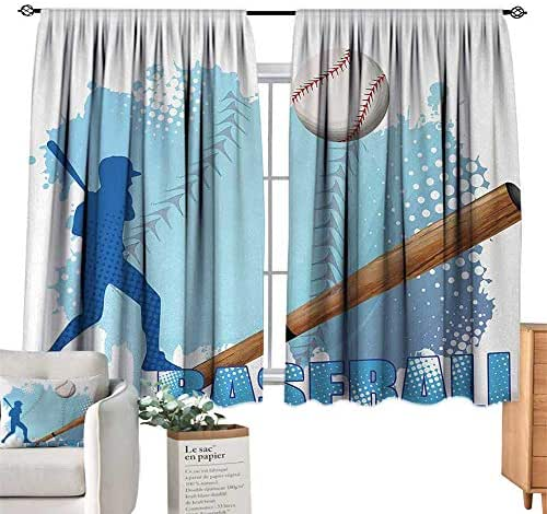 RuppertTextile Insulated Sunshade Curtain Baseball,Silhouette of A Baseball Player with Basic Game Icons Kicking with Bat Sports,Blue and White for Living, Dining, Bedroom (Pair) 55