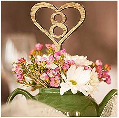 Tarjeta de madera para número de mesa de boda, tarjeta con diseño ...