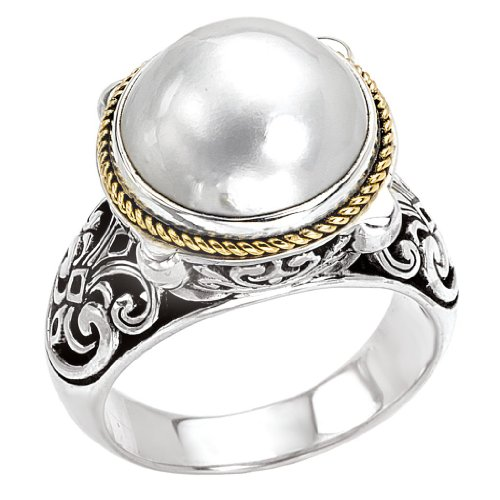 925 Silver & Mabe Cultured Pearl Ring with 18k Gold Accents- Size - Pearl Mabe Ring Gold