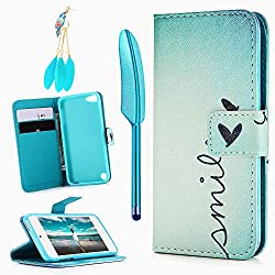 MOLLYCOOCLE iPod Touch 5 Case, Touch 6 Case, Stand Wallet Purse Credit Card ID Holders Magnetic Smile Love Bule Sky Design PU Leather Ultra Slim Fit Flip Folio Cover for iPod Touch 5/6