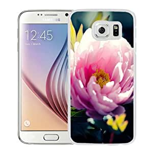 NEW Unique Custom Designed Samsung Galaxy S6 Phone Case With Pink Flower Closeup_White Phone Case