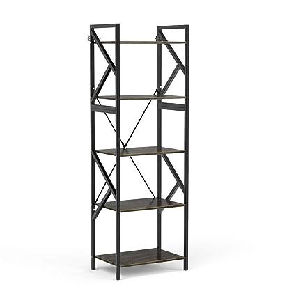 DEWEL 5 Shelf Bookshelf Vintage Industrial Rustic Rack Tier Metal And Wood