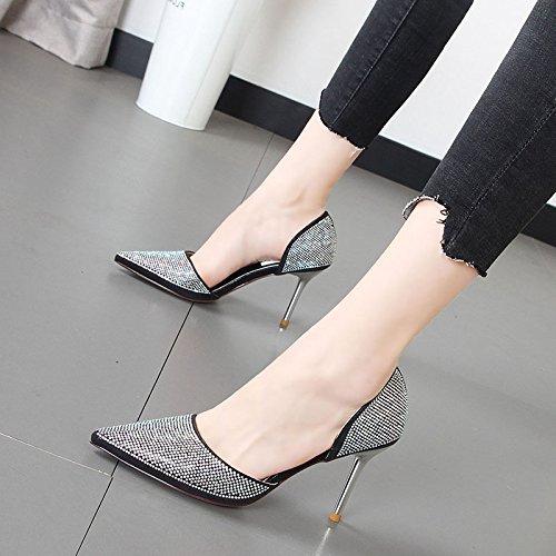 de Xue talón Butt zapatos agua Zapatos de mujer desglosadas punta de única Luz hembra pie Qiqi zapatos alto por Negro Taladro de gwxq4rOag