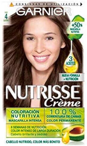 Garnier Nutrisse Creme Coloración Nutritiva Permanente, Tinte 100% Cobertura de Canas con Mascarilla Nutritiva de 4 Aceites - Tono 4 Castaño