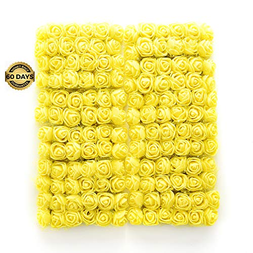Artificial Flower Bouquet Multicolor Rose Wedding Flower Decoration Scrapbooking Fake Rose Flower 144pcs 2cm Mini Foam Rose (Yellow)