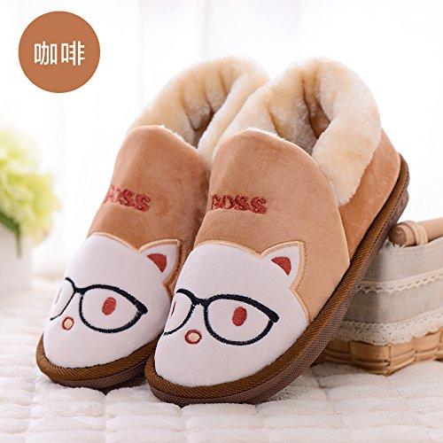Cotone fankou pantofole inverno ladies paio di spessore home home carino scarpe antiscivolo pantofole caldi maschio, 300 [46-47 per 45-46], colore caffè
