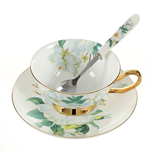 Saucer Cup Flower (Fronnor Coffee Cup Saucer Spoon Set 200ml Luxury Ceramic Mug Top-grade Porcelain Tea Cup Cafe Party Drinkware (Green Flower))