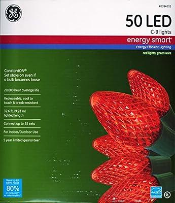GE 97719 50 C9 LED String Lights - Red
