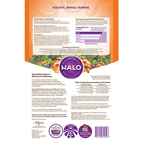 Picture of Halo Grain Free Natural Dry Cat Food, Kitten Chicken & Chicken Liver Recipe, 3-Pound Bag