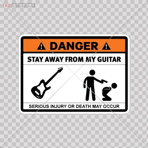 Sticker Danger Stay Away From My Guitar Color Print (7 X 5 Inch) Df6a7 Size: 5 X 3.6 Inches Vinyl color print