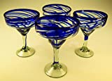 Mexican Glass Margarita Blue Swirl 4