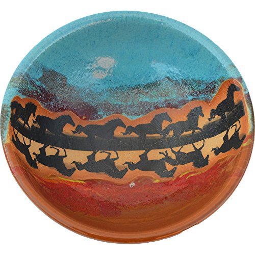 Horse Reflection Salad Bowl in Indian Summer glaze. - Indian Pottery Bowl