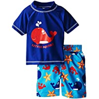 iXtreme Little Boys Shark, Whale, Crab 2-Piece Rashguard Swim Trunk Short Set