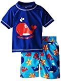iXtreme Little Boys Swimwear Whale Short Sleeve Rashguard Swim Board Short Trunk, Navy, 2T