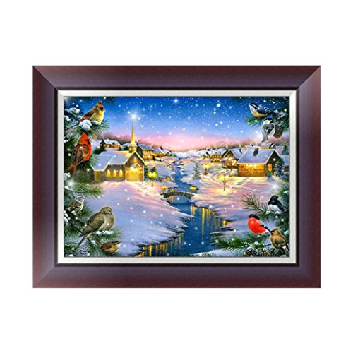 Holiday Painting (Pandaie To America Drill 5D DIY Diamond Winter Holiday Christmas Painting Embroidery Cross Craft Stitch Home Decor Art Kit Crystal Prime Tools Clearance Square Wolf)