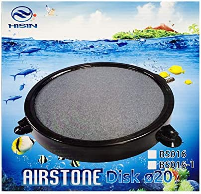 HiSin 8 X 1 Inch Disk Air Stone with Suction Cups for Aquarium & Hydroponics