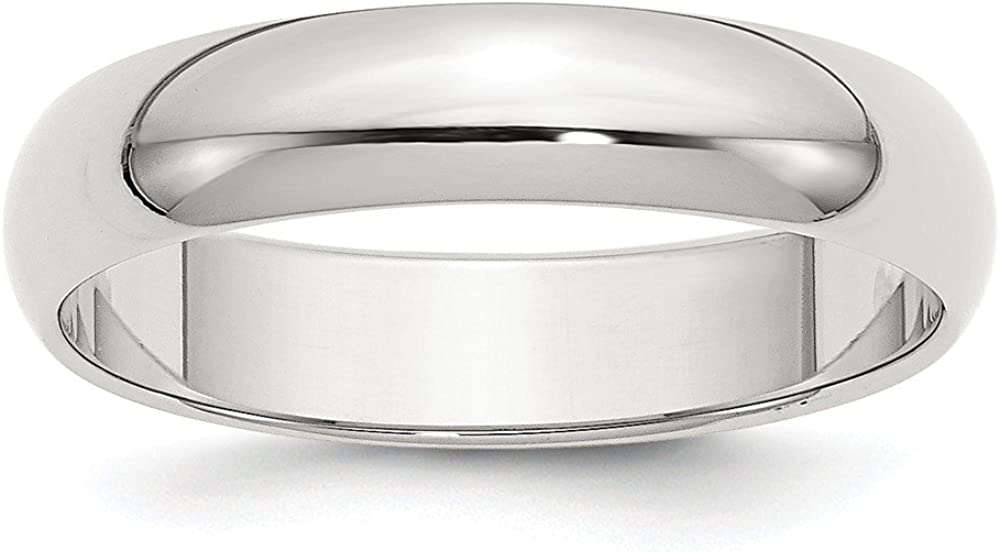 Wedding Bands Classic Bands Domed Bands Sterling Silver 5mm Half-Round Band Size 11.5