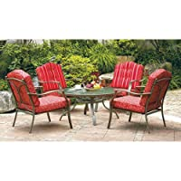 5 Piece Outdoor Patio Dining Furniture Set 4 Seats Glass Table Top Red Durable,This Elegant 5 Piece Conversation Set Would Enhance Your Dining Experience And Enjoy The Outdoor Environment.Cool Ventilated Seating Would Keep You Comfortable. by Mainstays Wa