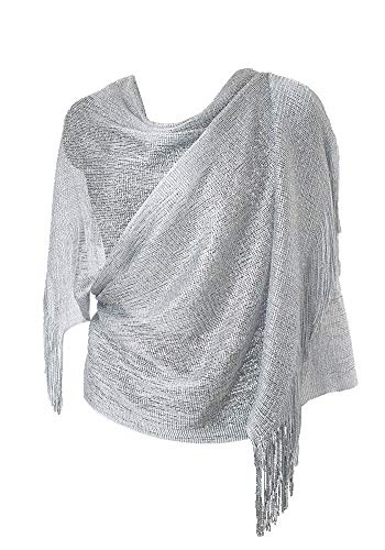 MissShorthair Womens Wedding Evening Wrap Shawl Glitter Metallic Prom Party Scarf with Fringe(Silver - Sheer Evening Gown Halter