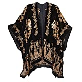 Women's Fashion Top - Black/Gold Burnout Velvet Kimono