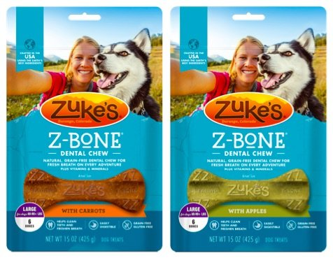 Zuke s Z-Bones Natural Grain-Free Dental Chew Large Pack of 2 , Apple and Carrot – 12 Chew Bones Total