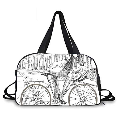 Bicycle Personality Travel Bag,Sexy Outrageous Young Lady Chewing Gum on Her Bike on Street Sketchy Illustration for Travel Airport,One_Size