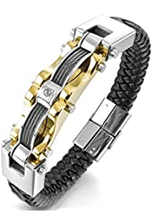 Men's Stainless Steel Genuine Leather Bracelet Bangle Cuff Cable CZ Gold Silver Two Tone Black