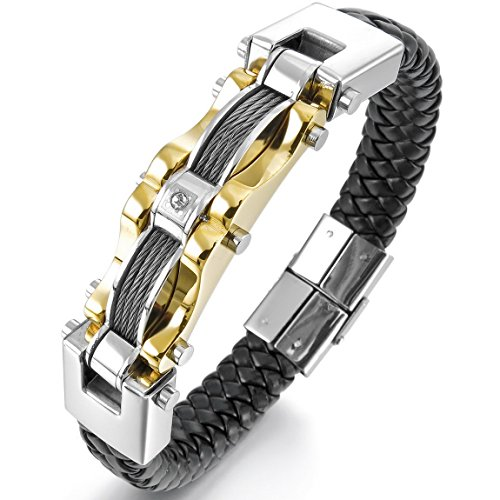 INBLUE Men's Stainless Steel Genuine Leather Bracelet Bangle Cuff Cable CZ Gold Silver Two Tone Black - Silver Tone Cable