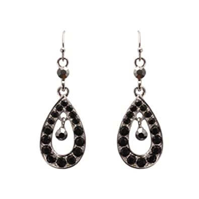 295d820cfb7f Bedazzled estilo Vintage negro cristal decorado plata lágrima pendientes de  gota - en caja de regalo  Amazon.es  Joyería