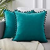 teal throw pillow Top Finel Decorative Throw Pillow Covers for Couch Bed Soft Particles Velvet Solid Cushion Covers with Pom-poms 24 x 24 Inch 60 x 60 cm, Pack of 2, Teal Blue