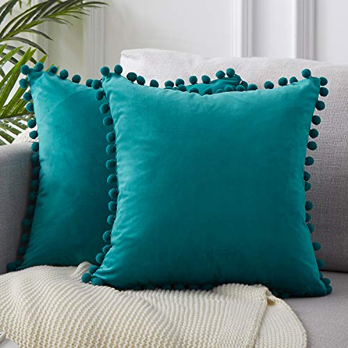 Top Finel Decorative Throw Pillow Covers for Couch Bed Soft Particles Velvet Solid Cushion Covers with Pom-poms 24 x 24 Inch 60 x 60 cm, Pack of 2, Teal Blue