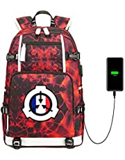 Unisex Canvas Shoulder Daypack, SCP Anime Backpack USB School Backpack, with USB Charging Port for Teenage Girls Boys High School Bookbag for Teens