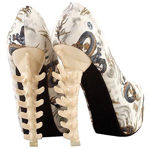 Beige Story Skull Heel Bone Print Show Ladies Pumps Party LF80610 Platform Rose Dragon Club 1qndn7wA