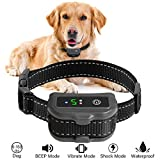 No Bark Collar for Dogs, HOSYO Upgrade Smart Barking Detection Dual Anti-Barking Modes with 5 Levels Beep Vibration Harmless Shock for 6-150 Pounds Dogs, IP67 Waterproof No-Bark Training Collar