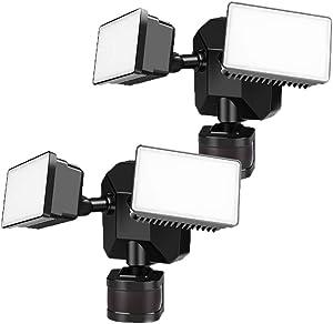 Security Lights Outdoor Motion Sensor, Dusk to Dawn Flood Lights Exterior 5000K Multifunction Hard Wired 110V/130V, ETL Approved Motion Detected for Garage/Porch/Yard, 2-Pack, GLEEBOM