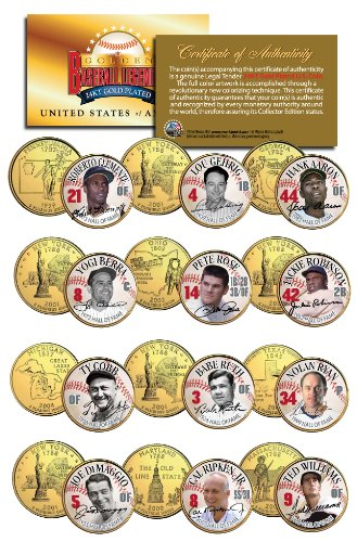 - GOLDEN BASEBALL LEGENDS * Hall of Fame * State Quarters 12-Coin Set Gold Plated