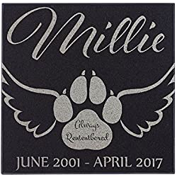 Paw With Angel Wings Cat Memorial Personalized Grave Stone For Cat | Granite