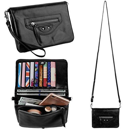 YALUXE Women's RFID Blocking Multiple Pocket Large Capacity Wristlet Wallet with Shoulder Strap Black (Wallet Purses)