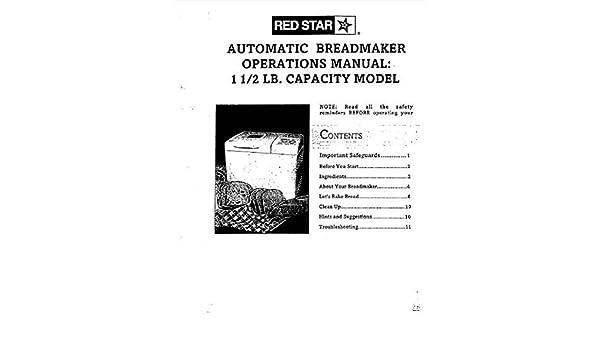 Red Star Pan máquina eléctrica manual de instrucciones y recetas ...